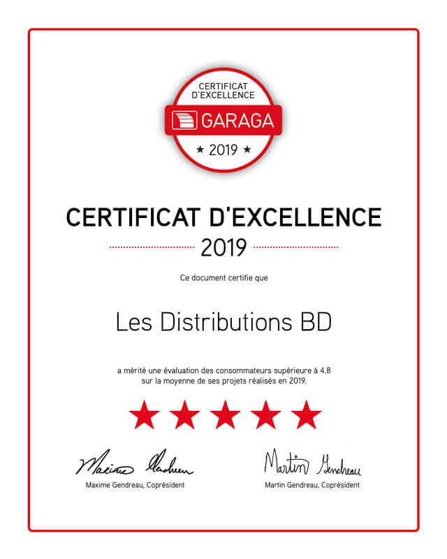 Certificat excellence